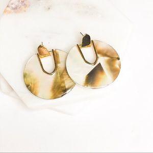 Light Tortoise Shell Acrylic Round Earrings